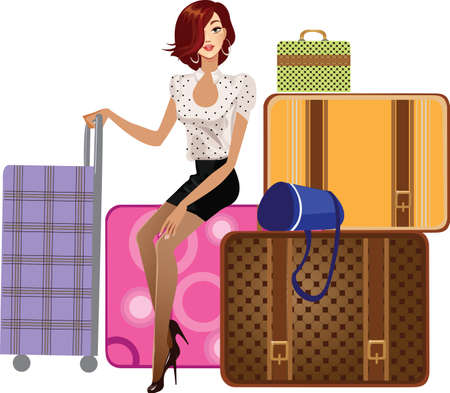 femme dessin: belle jeune fille assise sur une valise Illustration