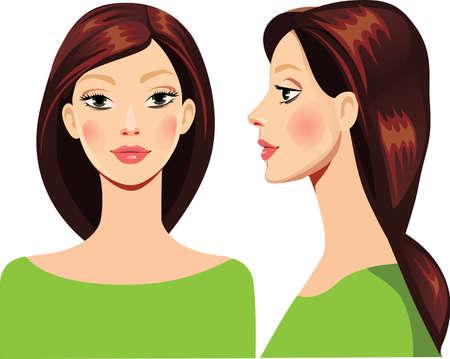 perfil de mujer rostro: retrato de la chica en la cara recto y de perfil