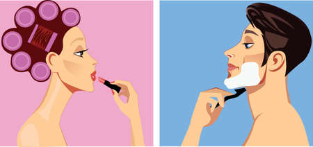 woman accessories: men shaves and woman in curler doing morning makeup