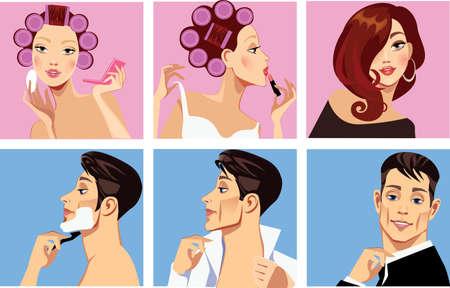 curler: men shaves and woman in curler doing makeup Illustration