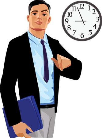 manager: office manager under clock Illustration