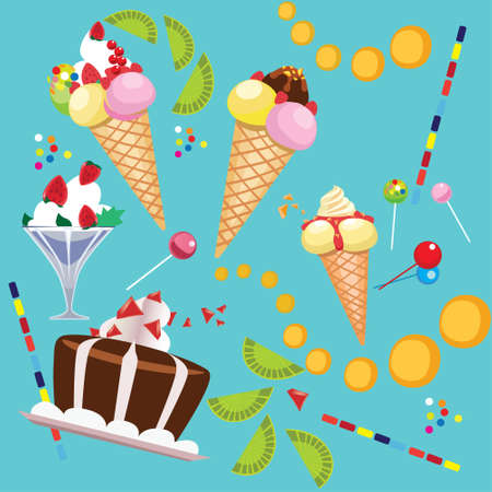 whipped cream: composition of confectionery, ice cream, whipped cream, cake, lollipop