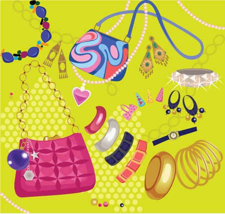 abstract illustration: composition of women accessories, handbag, bijouterie