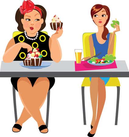 human figure: divertida imagen de dos mujeres en la mesa de comer, dieta diferente Vectores