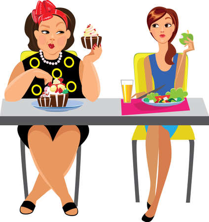 funny picture: funny picture of two women at table eat, different diet Illustration