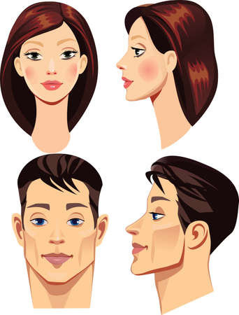 brunettes: faces of brunettes men and woman in straight and profile Illustration