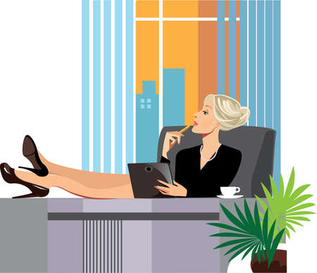 business woman with tablet: tired woman in the office, resting his feet on the table