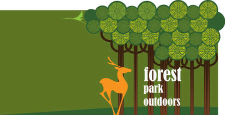 fallow deer: vector banner park and the animal, conservation Illustration