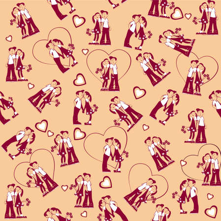 amorous: seamless cartoon pattern of cute girl and boy