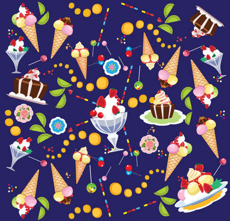 cake background: vector background of sweets, ice cream, cake, lollipop