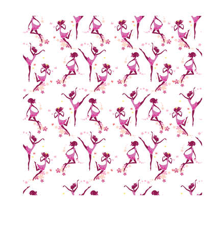 colour image: seamless pattern of silhouette girls and flowers