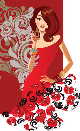 red dress: fashion girl in red dress on decorative background