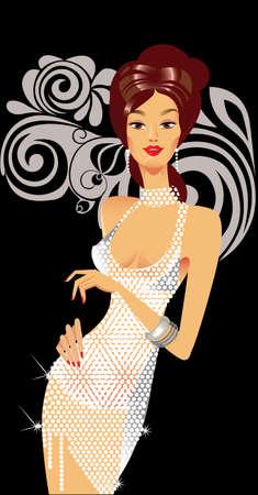 glamour girl: glamour fashion girl in white dress on black background