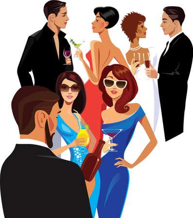 mujeres fashion: los hombres y las mujeres en la fiesta, grupo de personas con copa de cóctel en sus manos Vectores