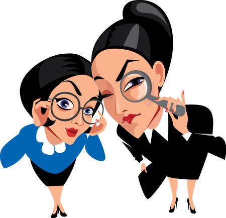 curious: vector illustration of funny characters, two spy ladies, women, curious