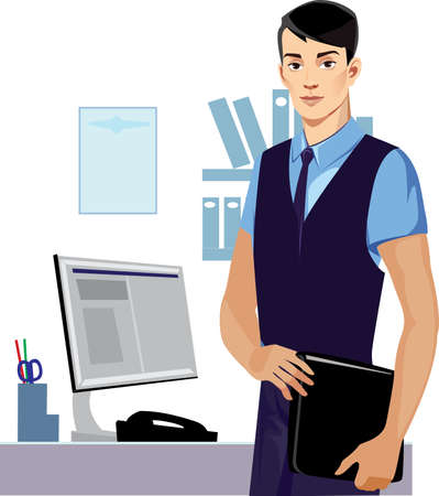 male face: professional men manager, man face, male Illustration