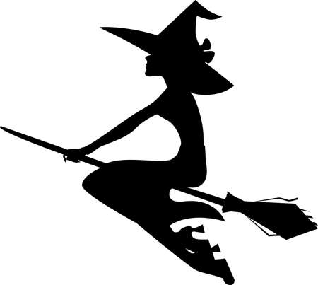 witch silhouette: silhouette witch on broom, isolated image of halloween