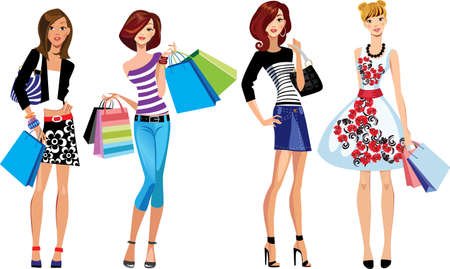 chicas de compras: niñas de la moda, la chica de compras, cara de la mujer Vectores
