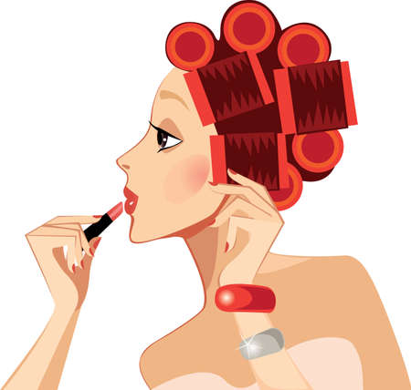 rulos: chica belleza de la cara de perfil, con rodillos rizadores de cabello, rostro de mujer, colorete, lápiz labial, maquillaje Vectores
