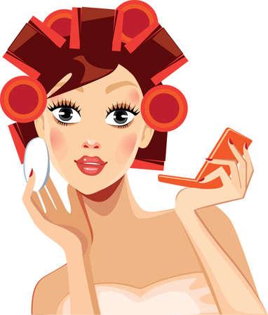 rulos: chica de belleza cara con los rodillos del pelo, la cara de la mujer, bigudíes de los rodillos en el pelo, el maquillaje