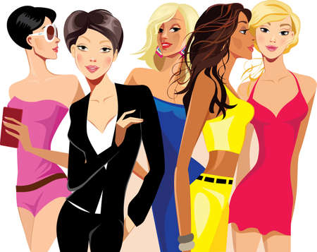 beauty girls: beauty girls, woman face, fashion beautiful women, group people Illustration