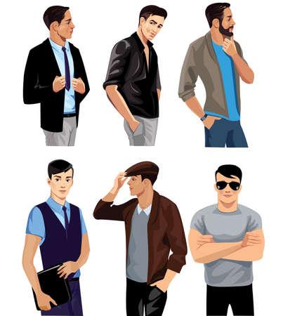 masculin: diferentes personas, los hombres se enfrentan, moda hombre, persona del grupo