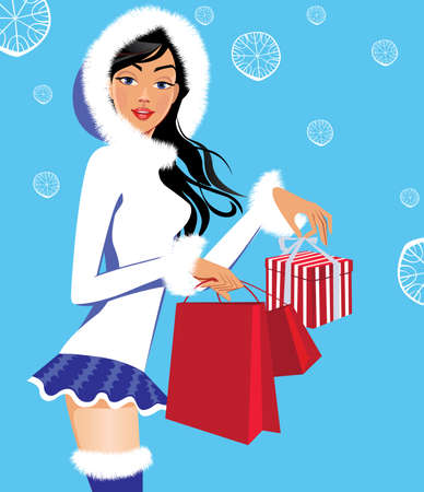 beauty woman face: fashionable girl in winter clothes with christmas gifts, woman beauty face