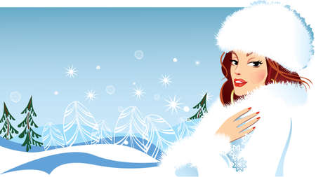 female girl: fashionable girl in winter clothes in fluffy hat, fashion female, woman beauty face