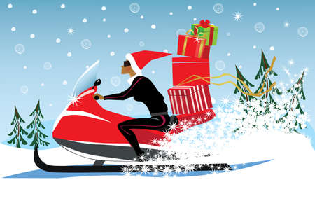 carries: girl in a Christmas cap, on snowmobile carries gifts, winter, winter landscape Illustration