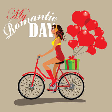 beauty girls: fashion girl on bicycle, romantic day, give gifts, present heart
