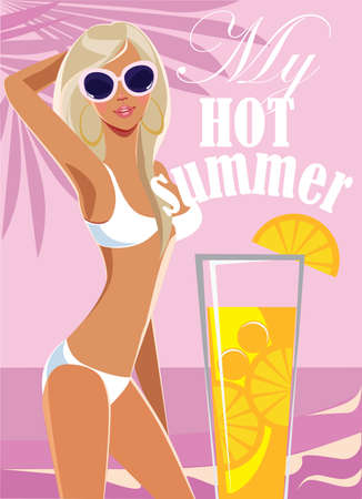 blond: My hot summer, fashion blond girl in swimsuit on sea background.