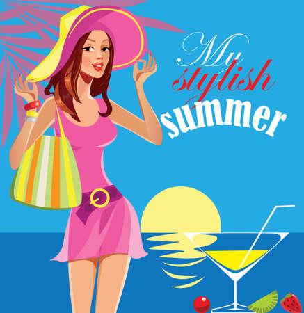 stylish woman: My stylish summer, fashion girl, woman in hat.