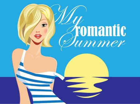 sexy blonde girl: fashion blonde girl, summer girl on sea background Illustration