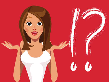 niñas se enfrentan a las emociones, la chica de moda, diferentes expresiones, pregunta, idea, caracteres mujer