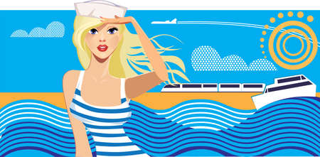 blonde: traveler beauty woman on background sky and sea, girl on resort, travel poster