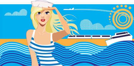 barche: viaggiatore bellezza donna sullo sfondo del cielo e del mare, ragazza una struttura, poster di viaggio