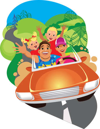son of man: happy family, mother, father, son and daughter ride on car in travel