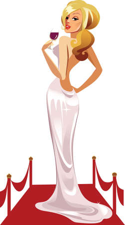 beautiful woman in white dress with a glass of wine on a red carpet