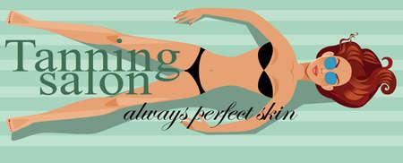 solarium: Tanning salon, girl tanning in solarium, horizontal banner for solarium studio, beauty salon