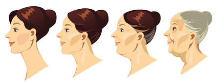 Face of woman in profile at different ages, vector illustration, human face in different ages of life, young girl, middle-aged woman, elderly woman