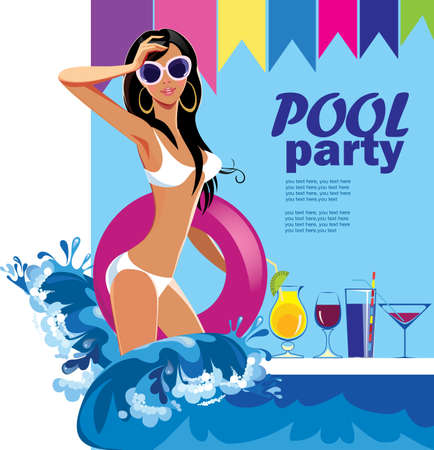 Pool party, fashion brunet girl in swimsuit with inflatable mattresse, design poster for party.