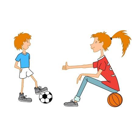 bolls: Cartoon boy and girl with football and basketball bolls.