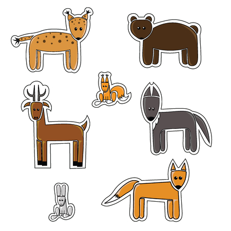 lynx: Cartoon woodland animals stickers. Lynx, bear, squirrel, deer, Fox, wolf, hare Illustration