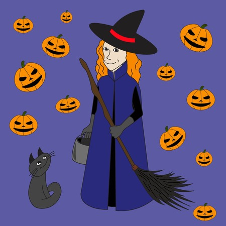 enchantment: The good witch with broom and cat