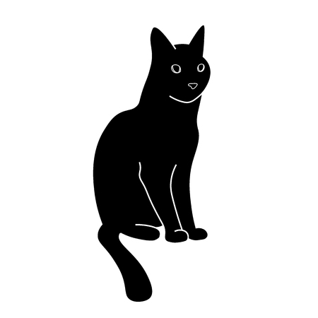 wiskers: The outline of a black cat. Cat sitting Illustration