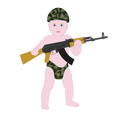 funny baby: Baby boy soldier in diapers. Funny cartoon kid child military