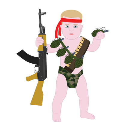 army helmet: Baby boy soldier in diapers. Funny cartoon military Baby Rambo. Illustration