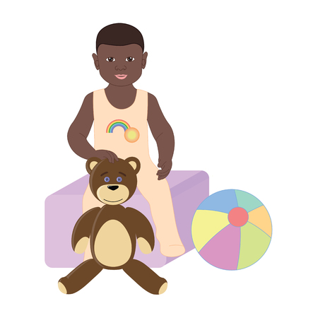 toy box: Baby boy sitting on the toy box. The boy in Romper with Teddy bear and ball.
