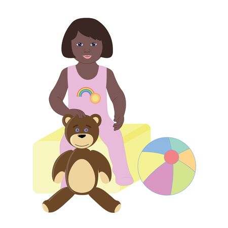 romper: The girl in Romper with Teddy bear and ball