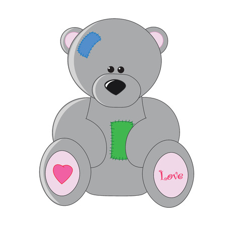 cute bear: Cute Teddy bear toy with patches.